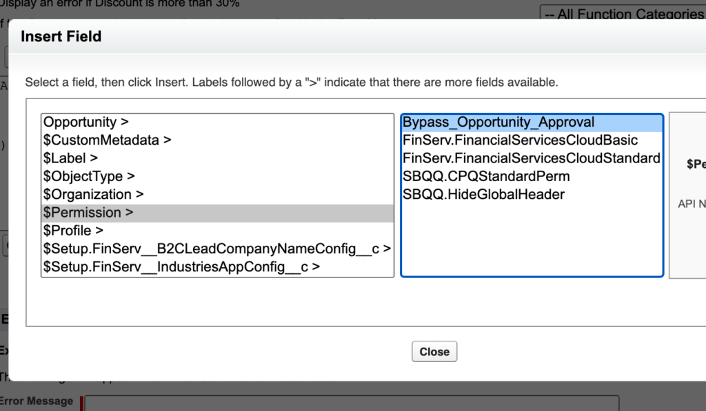 Adding a custom permission to a validation rule.