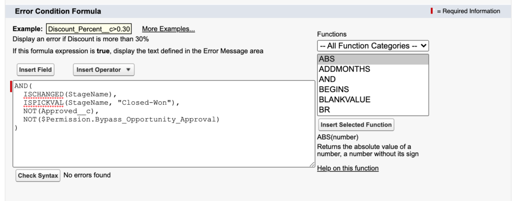 A custom permission in a validation rule.