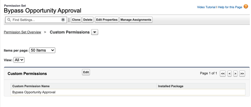 Custom permission in a permission set.